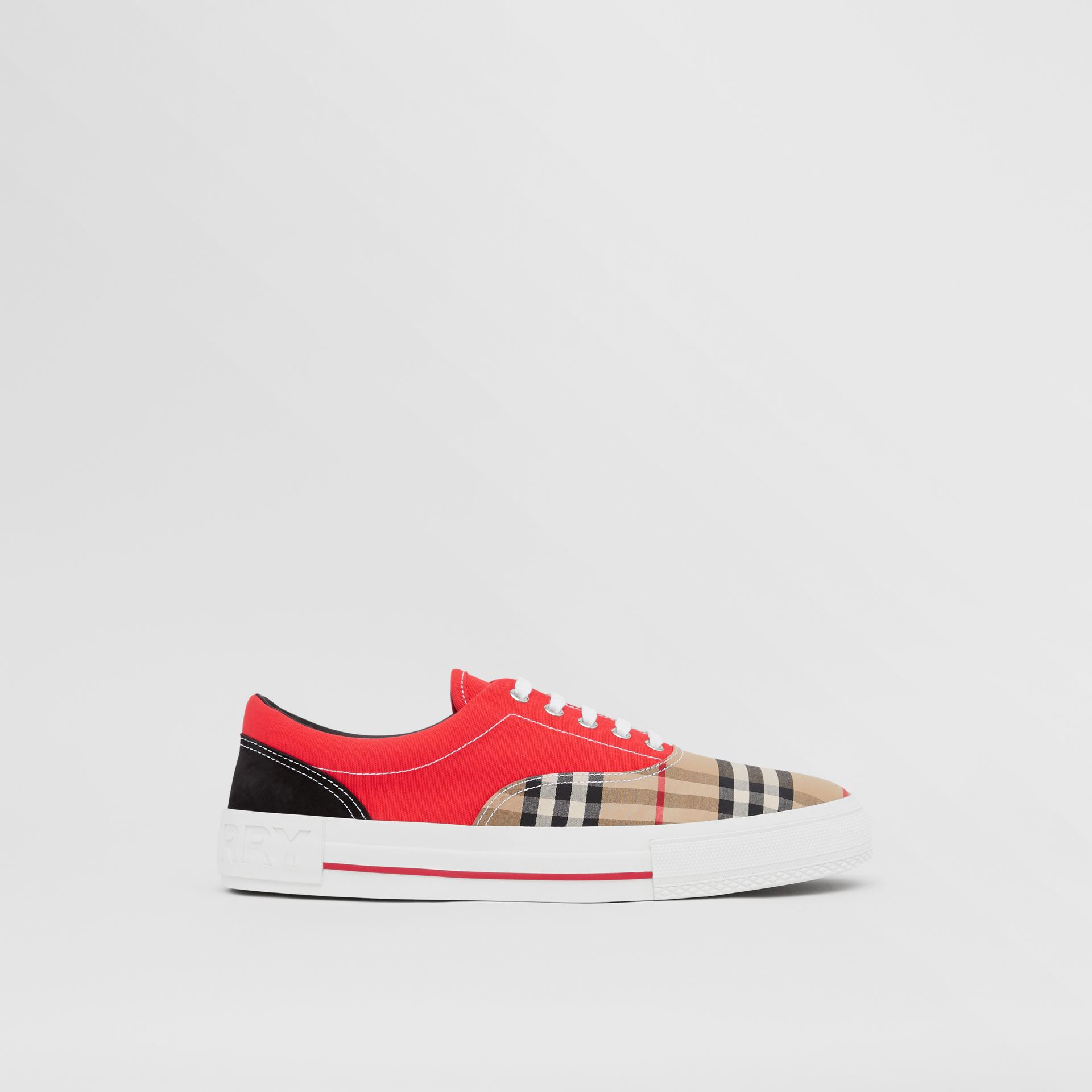 Vintage Check, Cotton Canvas and Suede Sneakers in Archive Beige/red - Men | Burberry Hong Kong S.A.R - gallery image 4