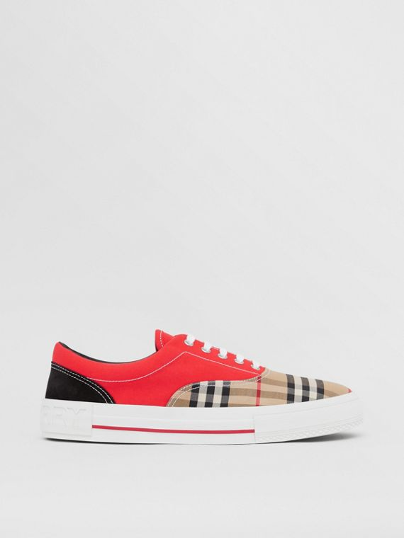 Vintage Check, Cotton Canvas and Suede Sneakers in Archive Beige/red