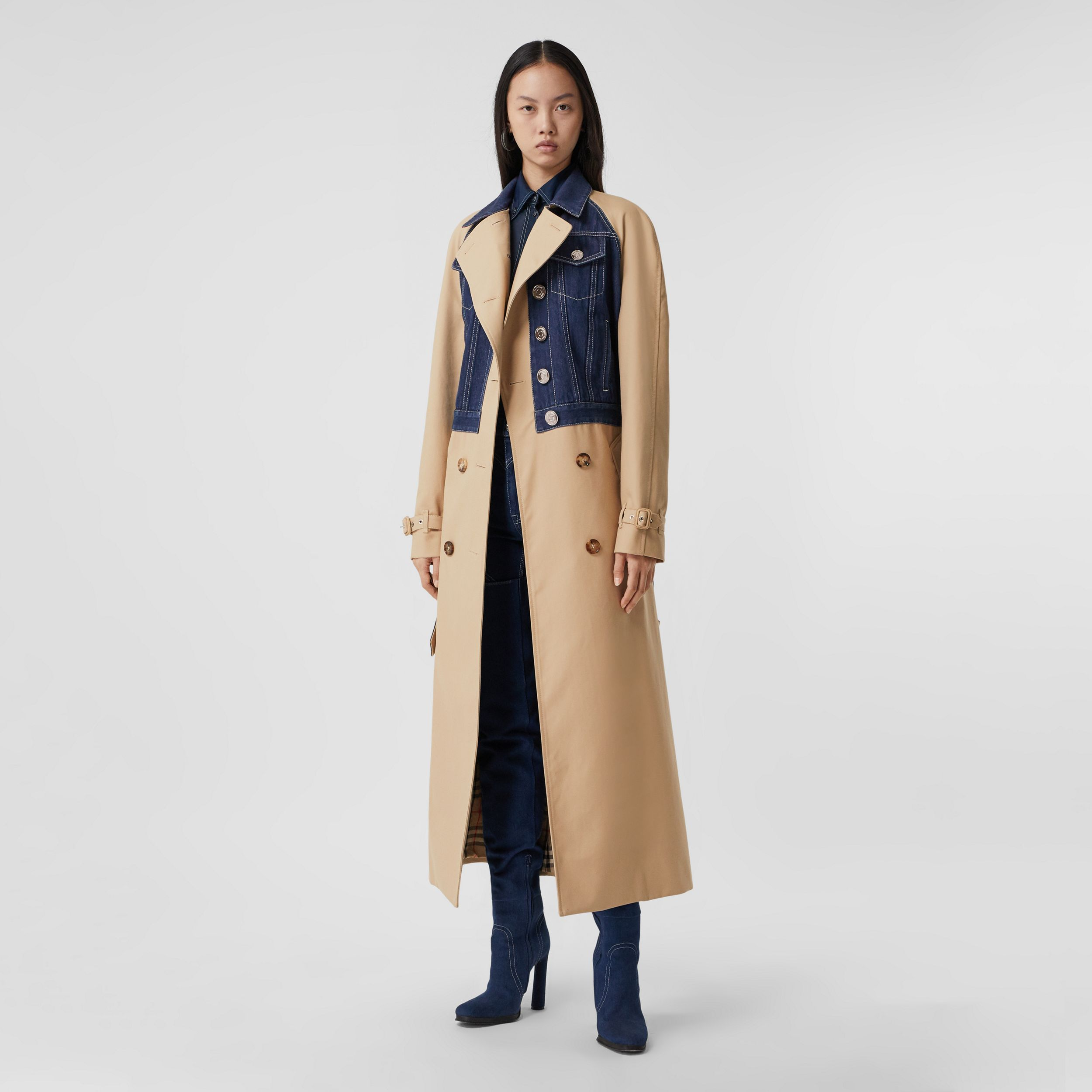 Panelled Cotton Gabardine Trench Coat in Soft Fawn - Women | Burberry - 1
