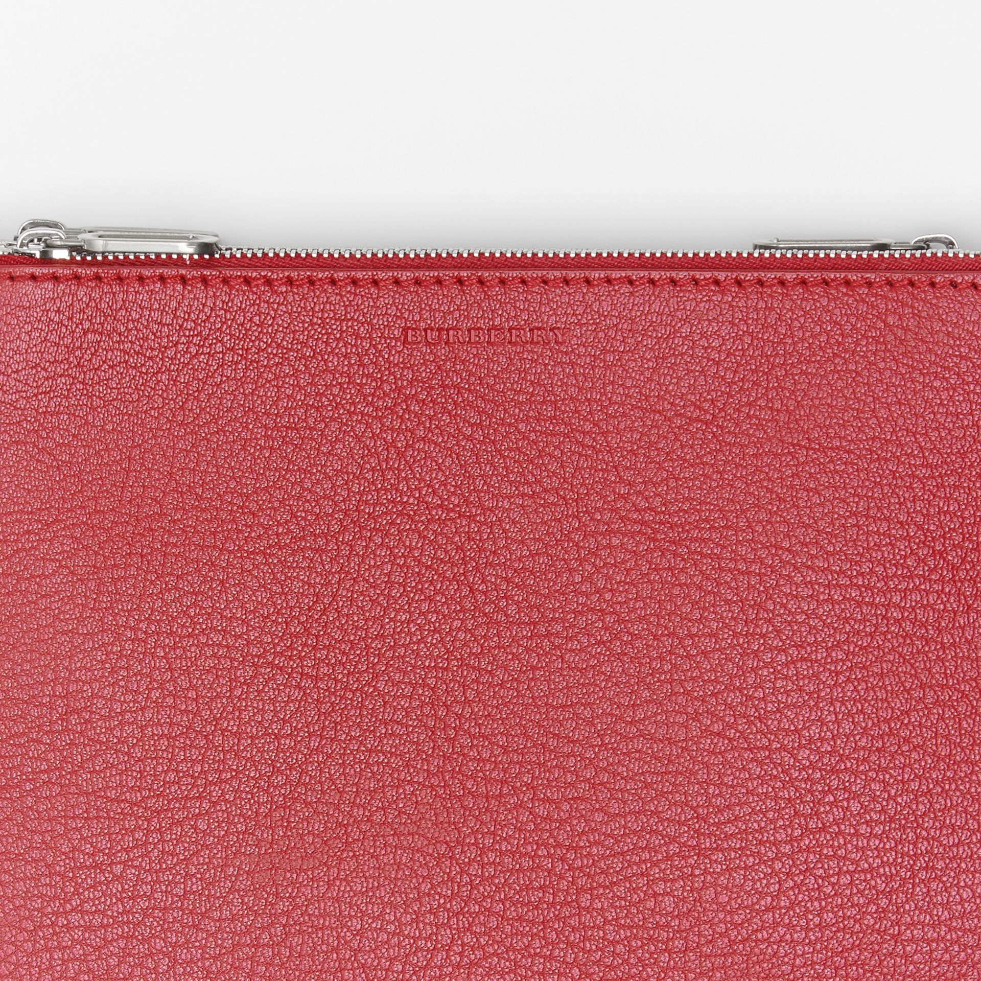 Triple Zip Grainy Leather Crossbody Bag in Crimson - Women | Burberry - gallery image 1