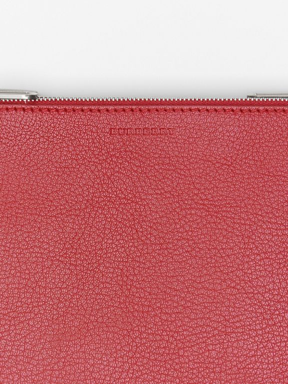 Triple Zip Grainy Leather Crossbody Bag in Crimson - Women | Burberry - cell image 1