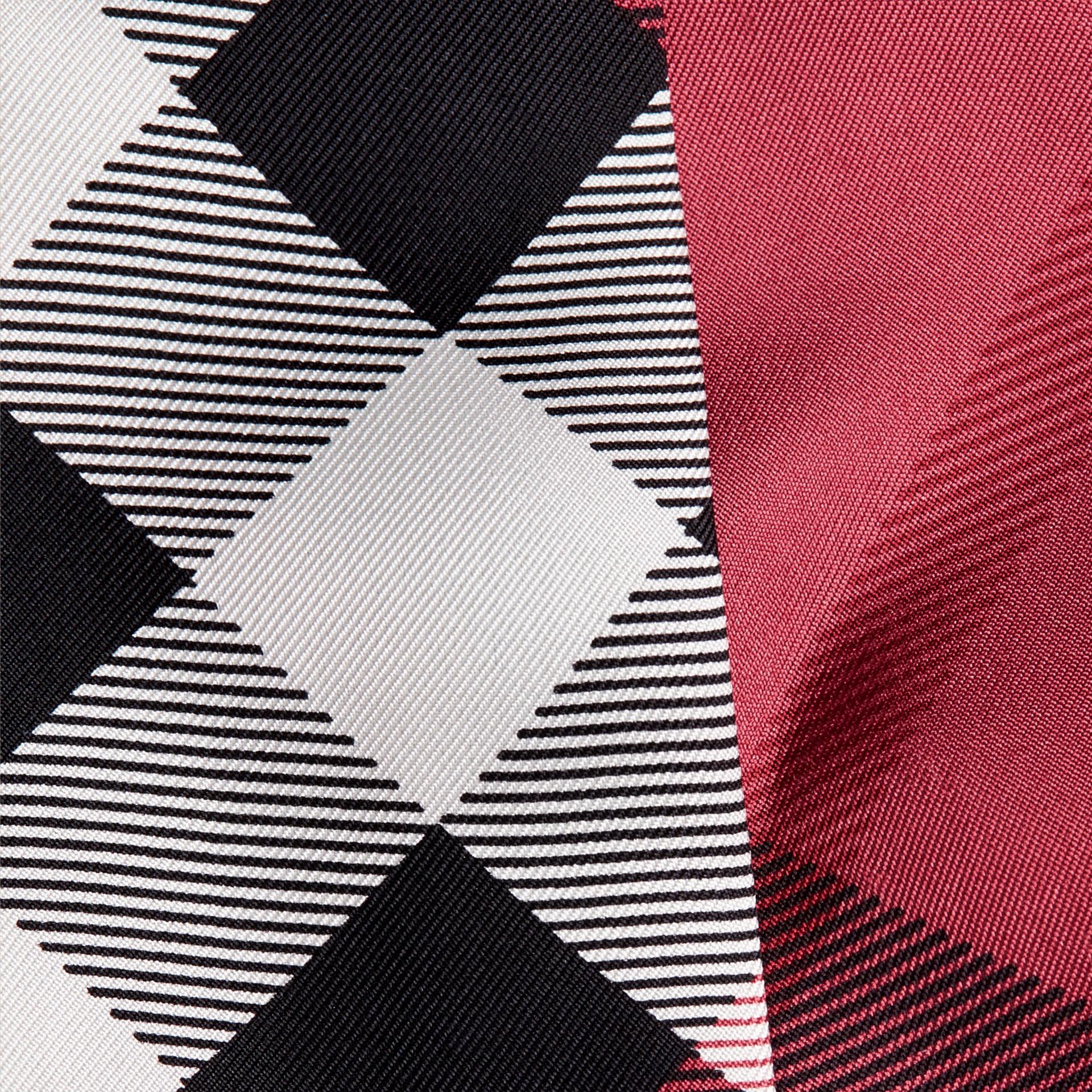 Blush pink Check Print Slim Silk Scarf Blush Pink - gallery image 2