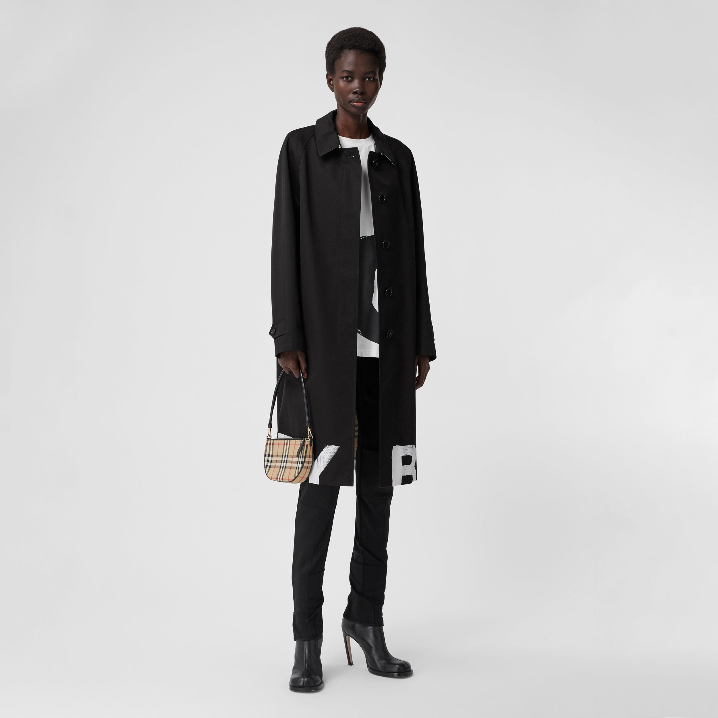 Logo Print Cotton Gabardine Car Coat in Black - Women | Burberry United Kingdom - 1