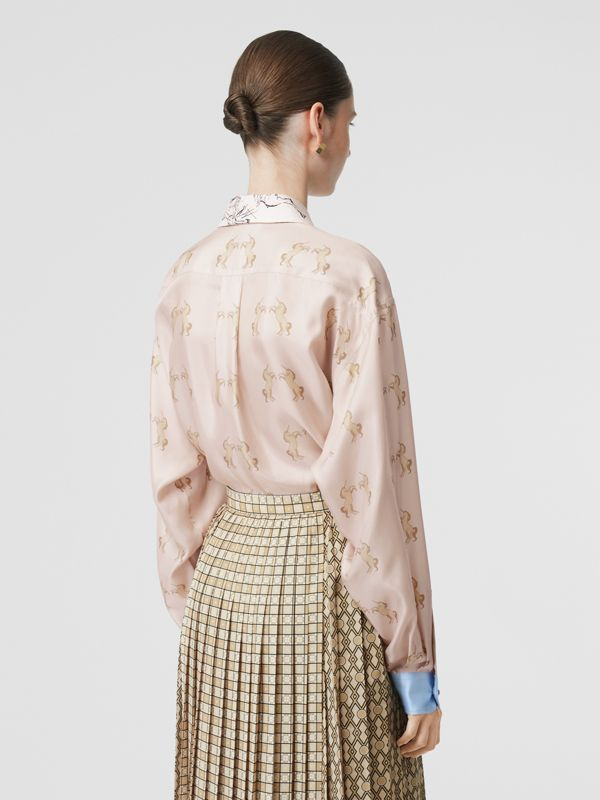 Contrast Unicorn Print Silk Twill Shirt in Pale Pink - Women | Burberry - cell image 2