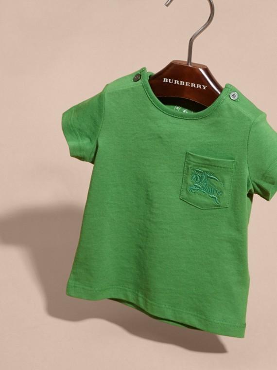 Verde felce brillante T-shirt girocollo in cotone Verde Felce Brillante - cell image 2