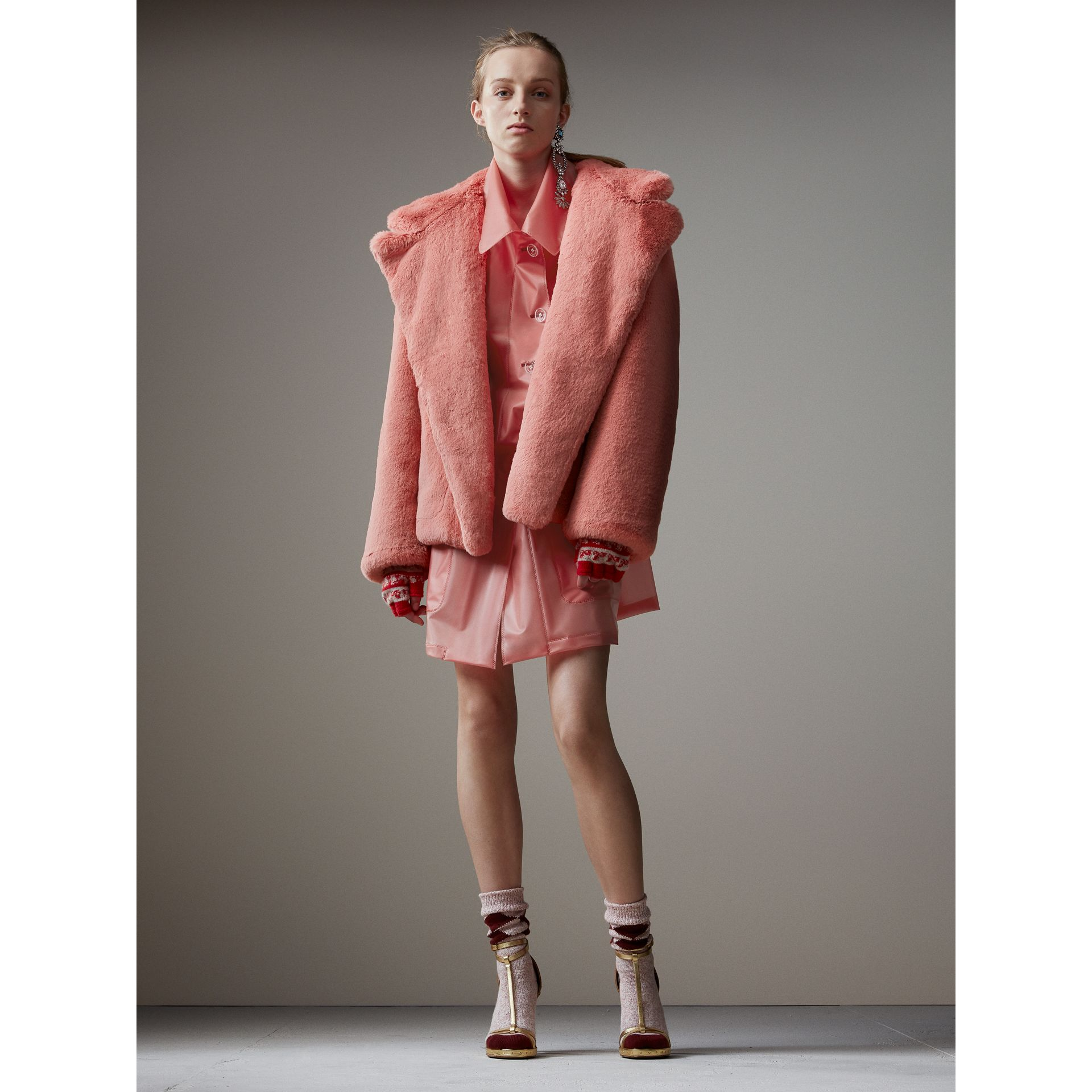 Faux Fur Hooded Jacket in Pale Pink - Women | Burberry - gallery image 1
