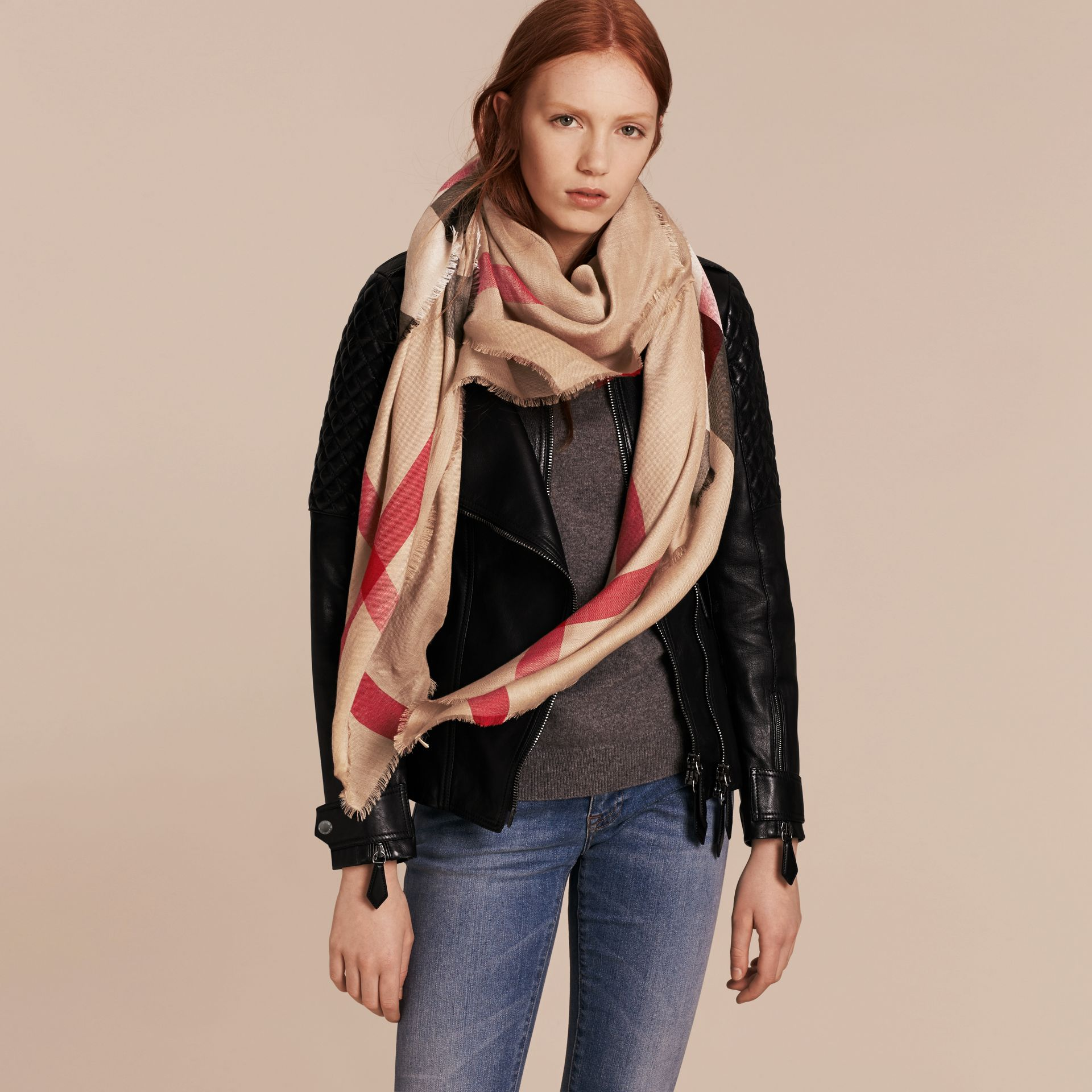 Large Lightweight Check Silk Modal Wool Square Scarf in Camel | Burberry - gallery image 3