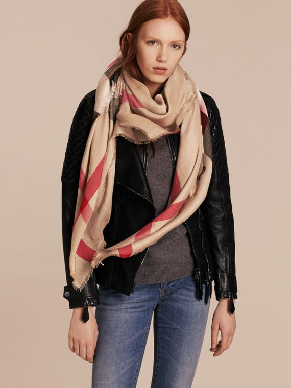 Large Lightweight Check Silk Modal Wool Square Scarf in Camel | Burberry - cell image 2
