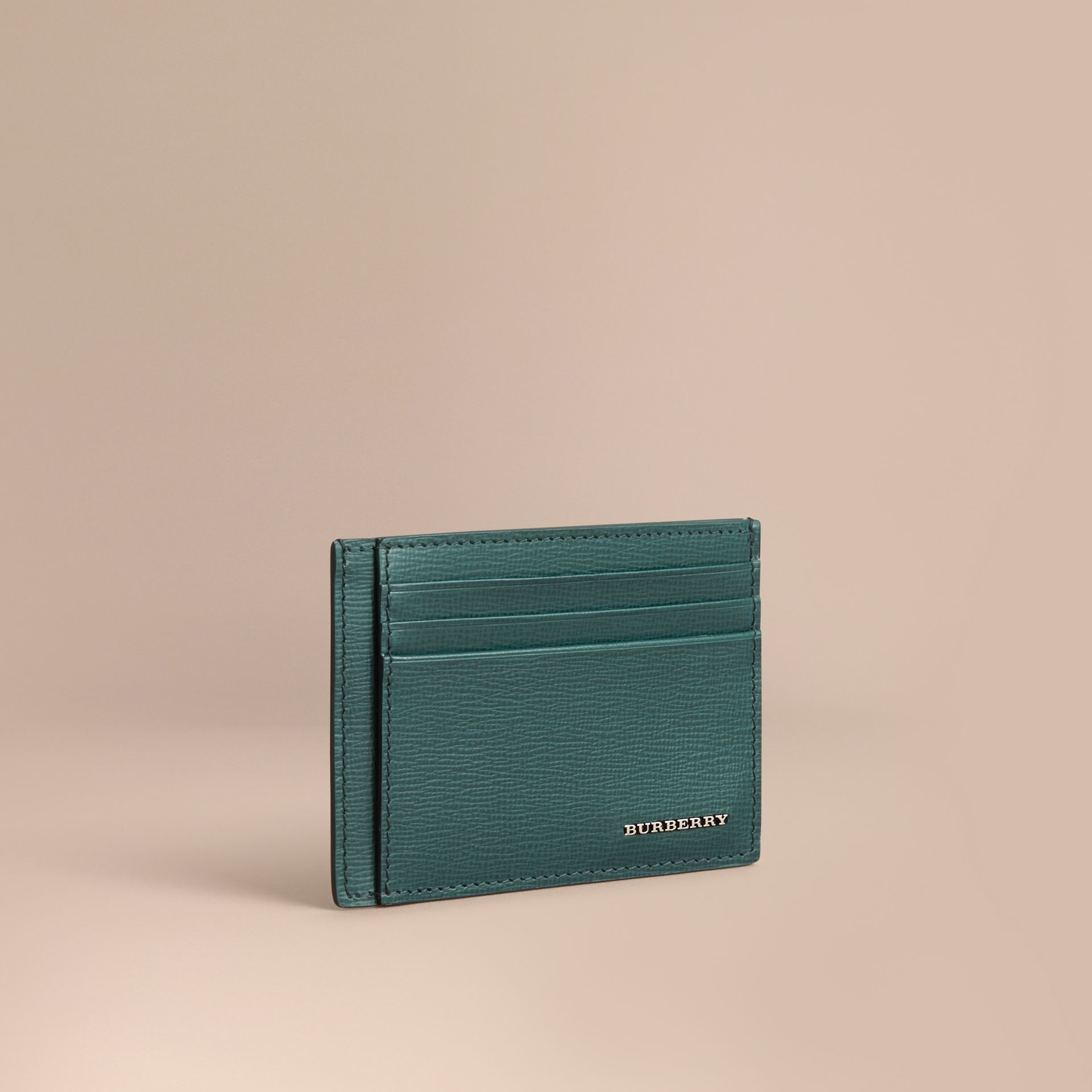 London Leather Card Case in Dark Teal | Burberry - gallery image 0