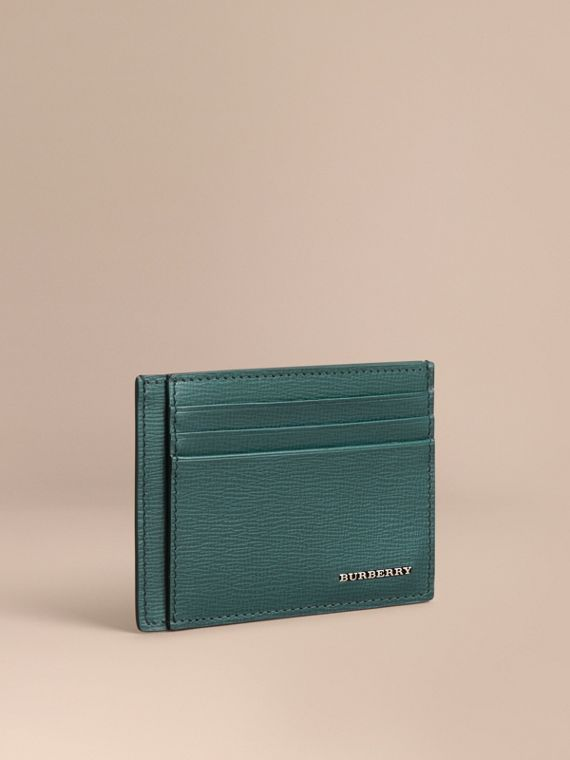 London Leather Card Case in Dark Teal