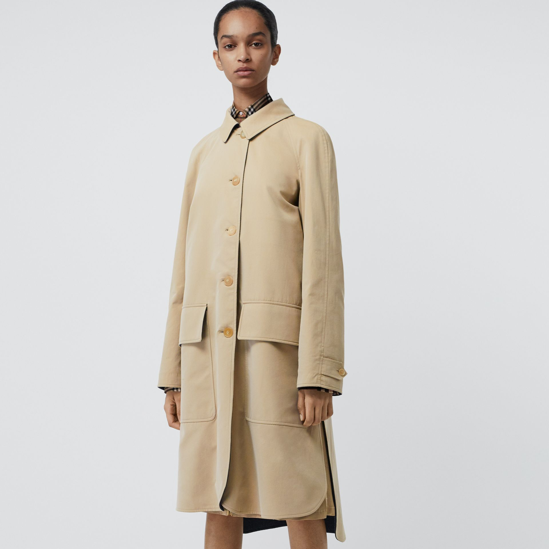 Wool-lined Tropical Gabardine Car Coat in Honey - Women | Burberry - gallery image 4
