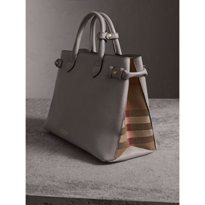 The Medium Banner in Leather and House Check - Grey Burberry OIRiq