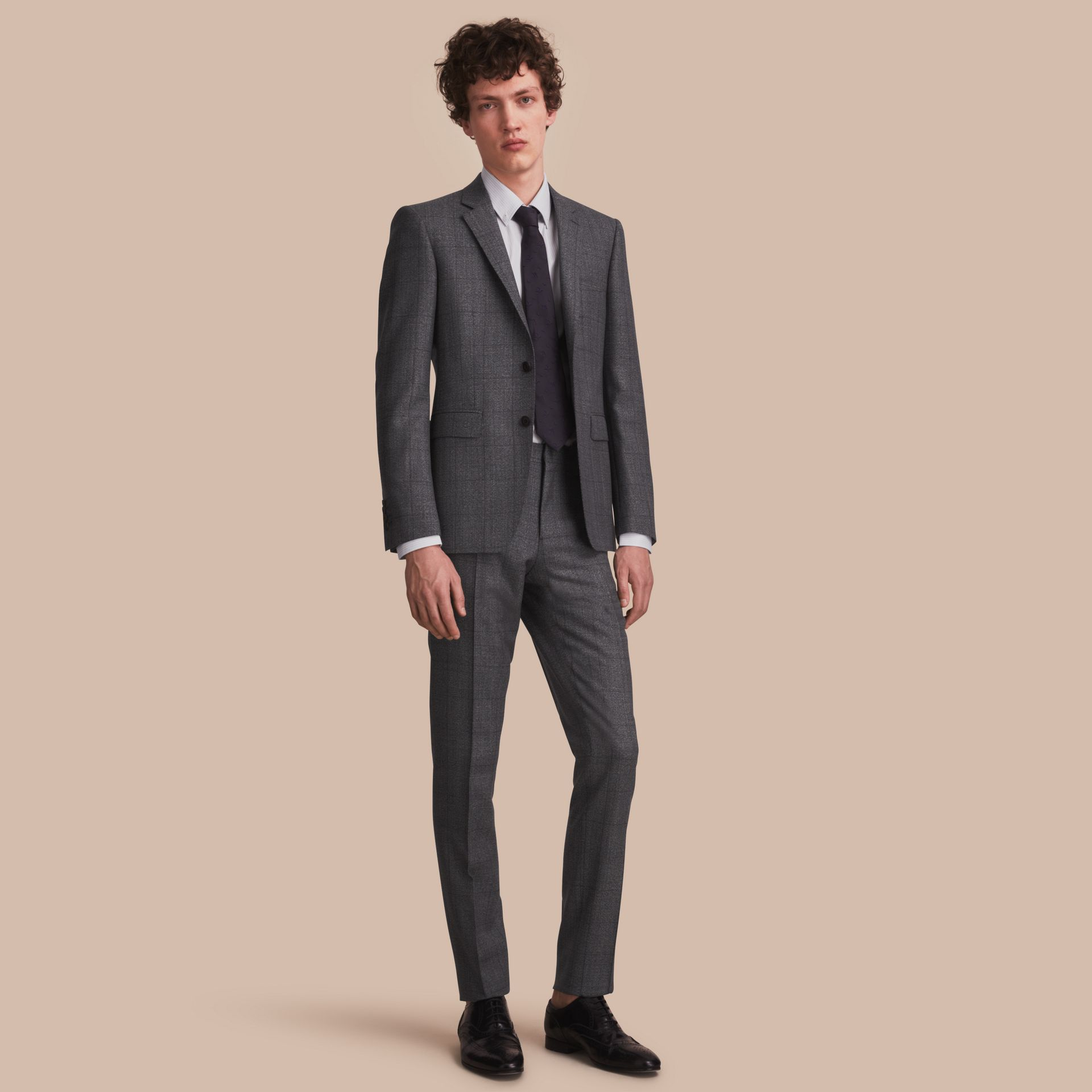 Slim Fit Check Half-canvas Wool Suit - gallery image 1