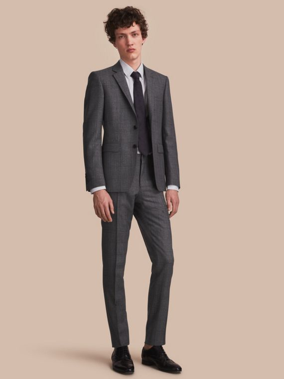 Slim Fit Check Half-canvas Wool Suit