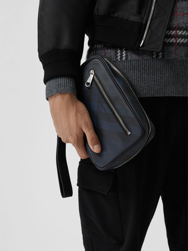 London Check Travel Pouch in Navy/black - Men | Burberry - cell image 3