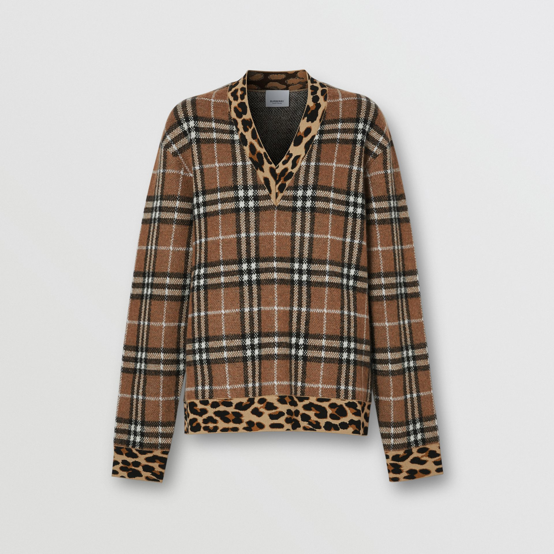 Leopard Detail Vintage Check Cashmere Blend Sweater in Archive Beige - Women | Burberry - gallery image 3