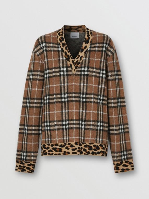 Leopard Detail Vintage Check Cashmere Blend Sweater in Archive Beige
