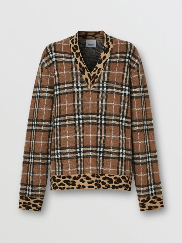 Leopard Detail Vintage Check Cashmere Blend Sweater in Archive Beige - Women | Burberry Hong Kong S.A.R - cell image 3