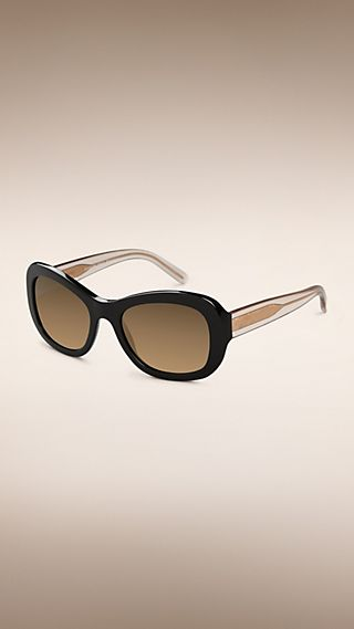 Trench Collection Round Frame Sunglasses Black
