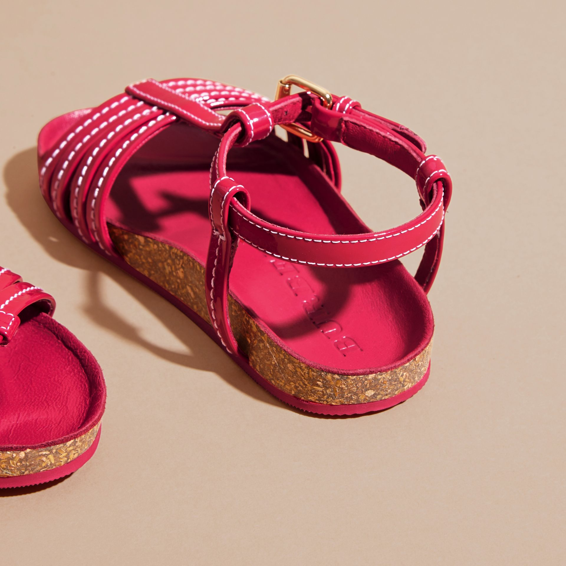 Cork Detail Patent Leather Sandals in Berry Pink | Burberry United Kingdom - gallery image 4
