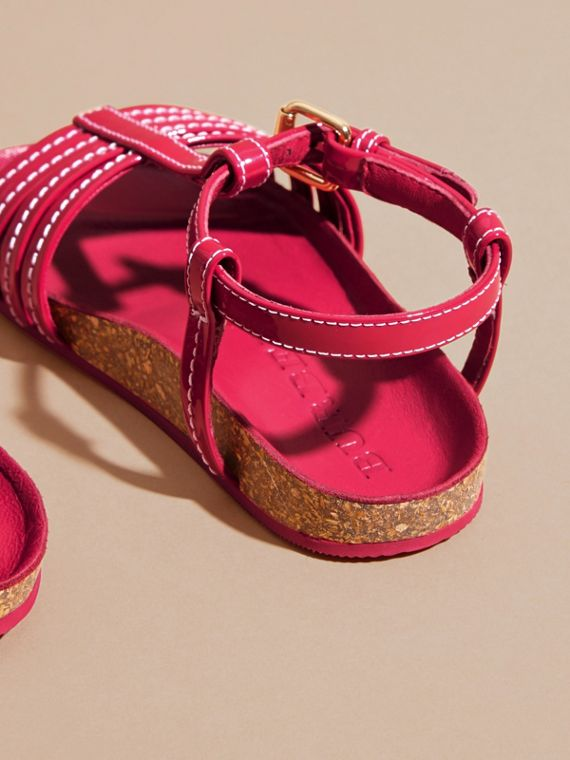 Cork Detail Patent Leather Sandals | Burberry - cell image 3