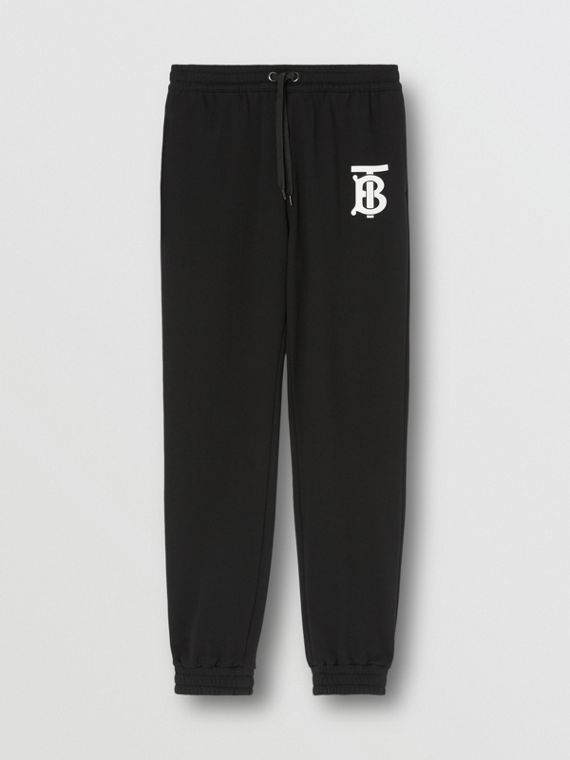 Monogram Motif Cotton Trackpants in Black