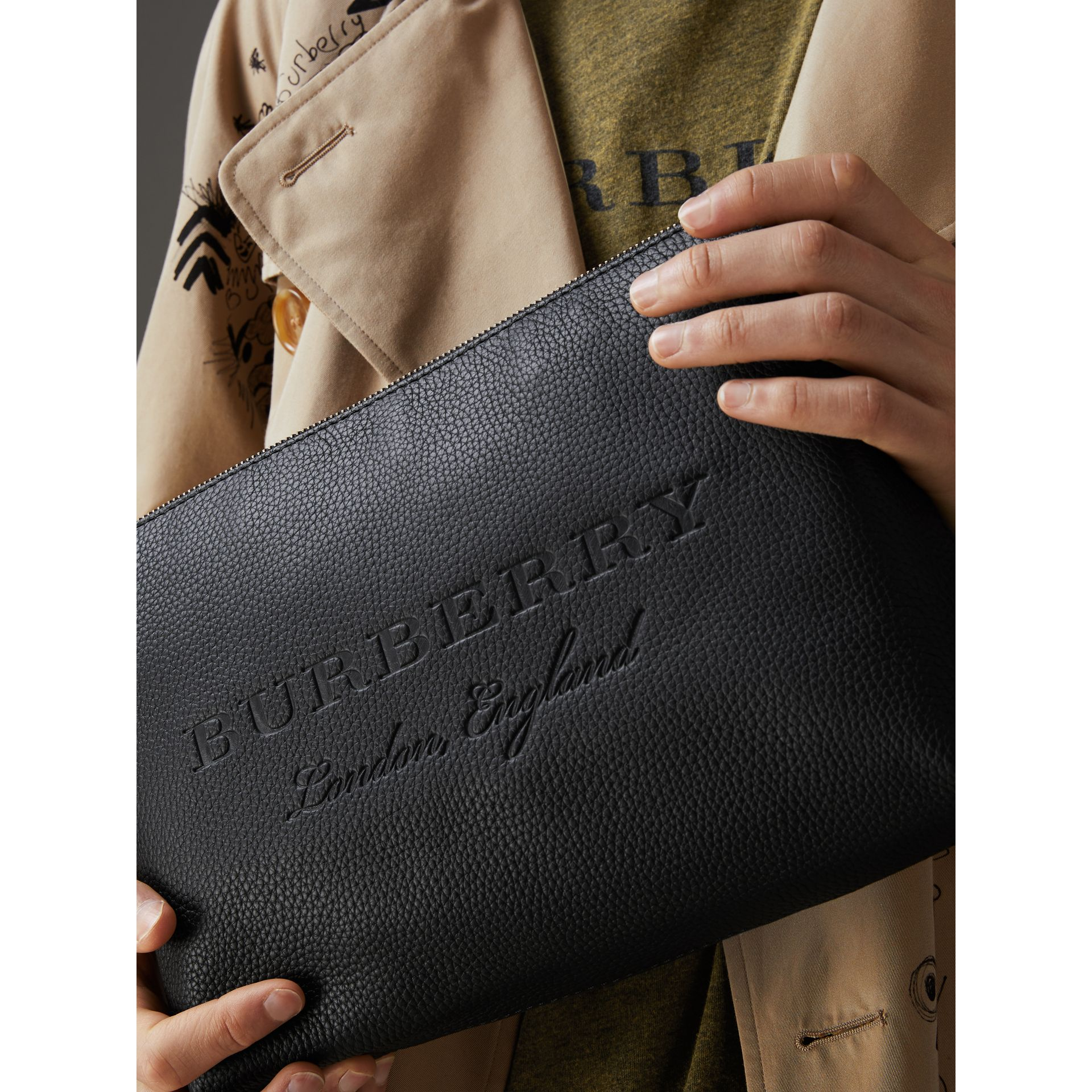 Large Embossed Leather Zip Pouch in Black | Burberry - gallery image 3
