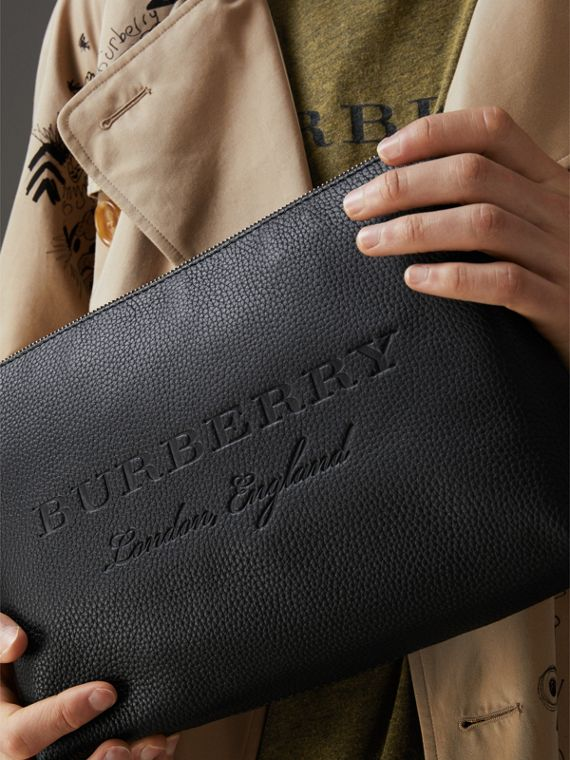 Large Embossed Leather Zip Pouch in Black | Burberry - cell image 3