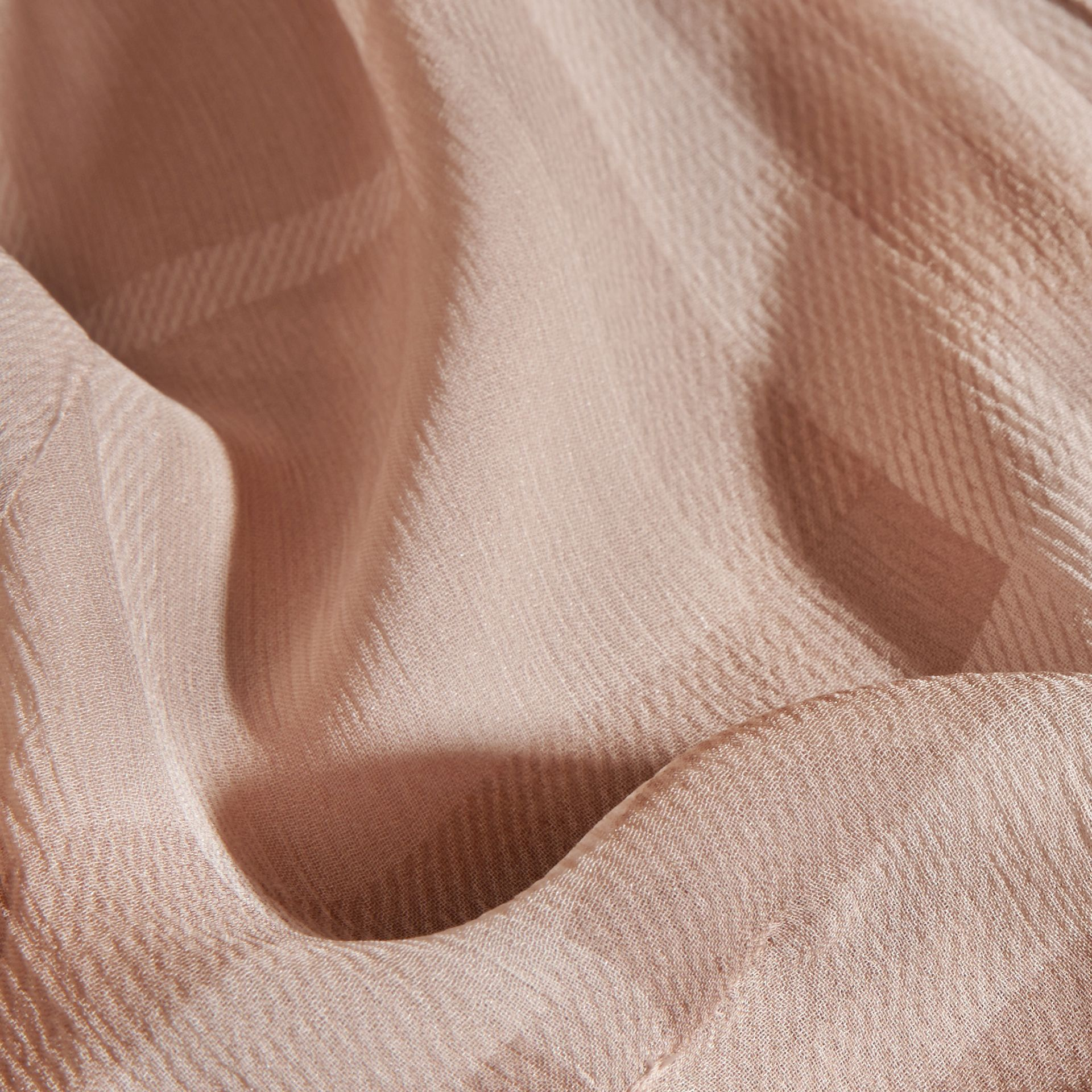 Tonal Check Ruffle Detail Silk Crepon Top Nude - gallery image 2