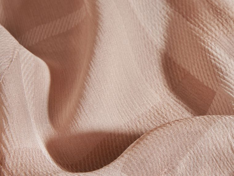 Tonal Check Ruffle Detail Silk Crepon Top Nude - cell image 1