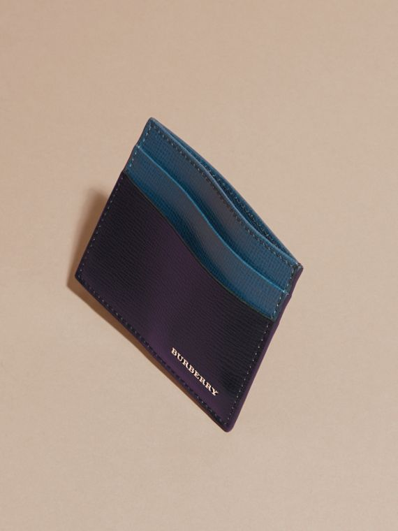 Dark navy/mineral blue Colour Block London Leather Card Case Dark Navy/mineral Blue - cell image 2