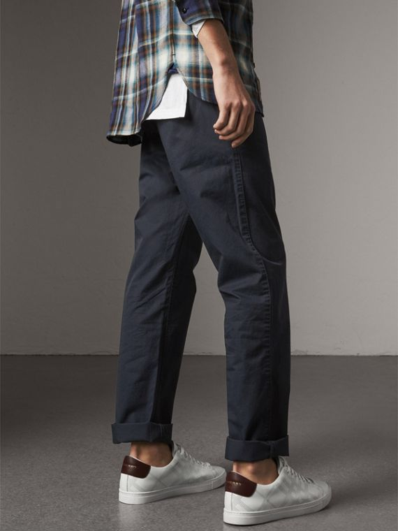 Straight Fit Cotton Chinos in Ink - Men | Burberry - cell image 2