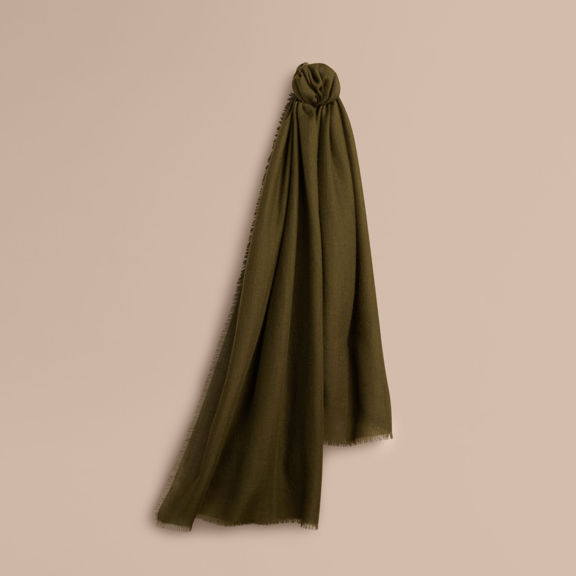Olive green The Lightweight Cashmere Scarf Olive Green - gallery image 6