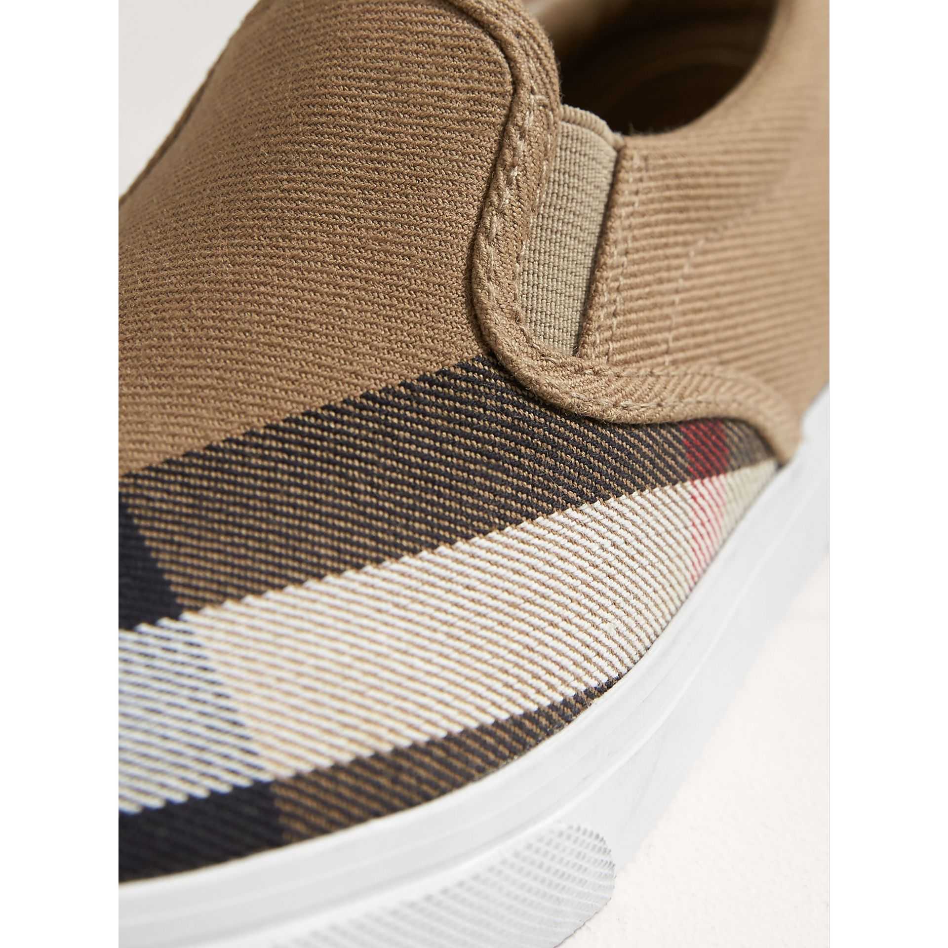 House Check and Leather Slip-on Sneakers in Classic/optic White | Burberry - gallery image 1