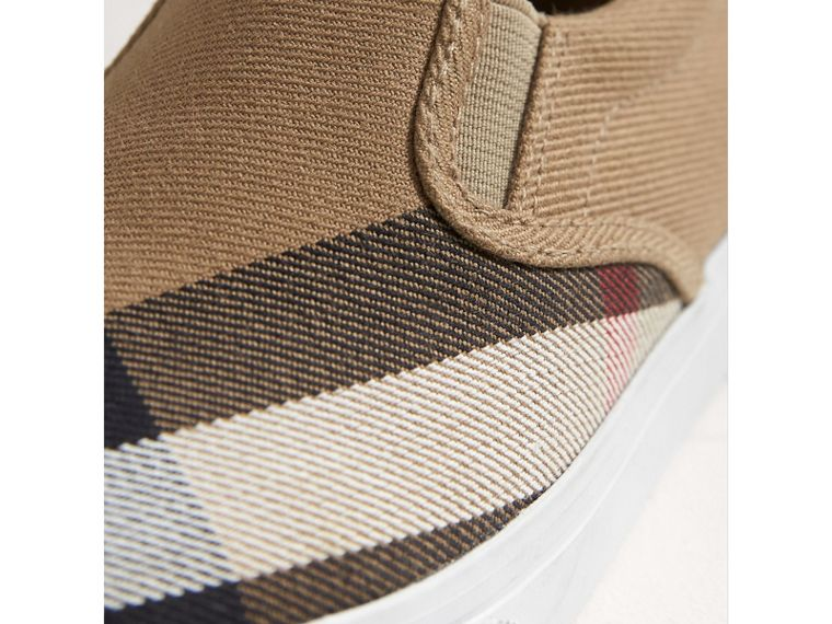 House Check and Leather Slip-on Sneakers in Classic/optic White | Burberry - cell image 1