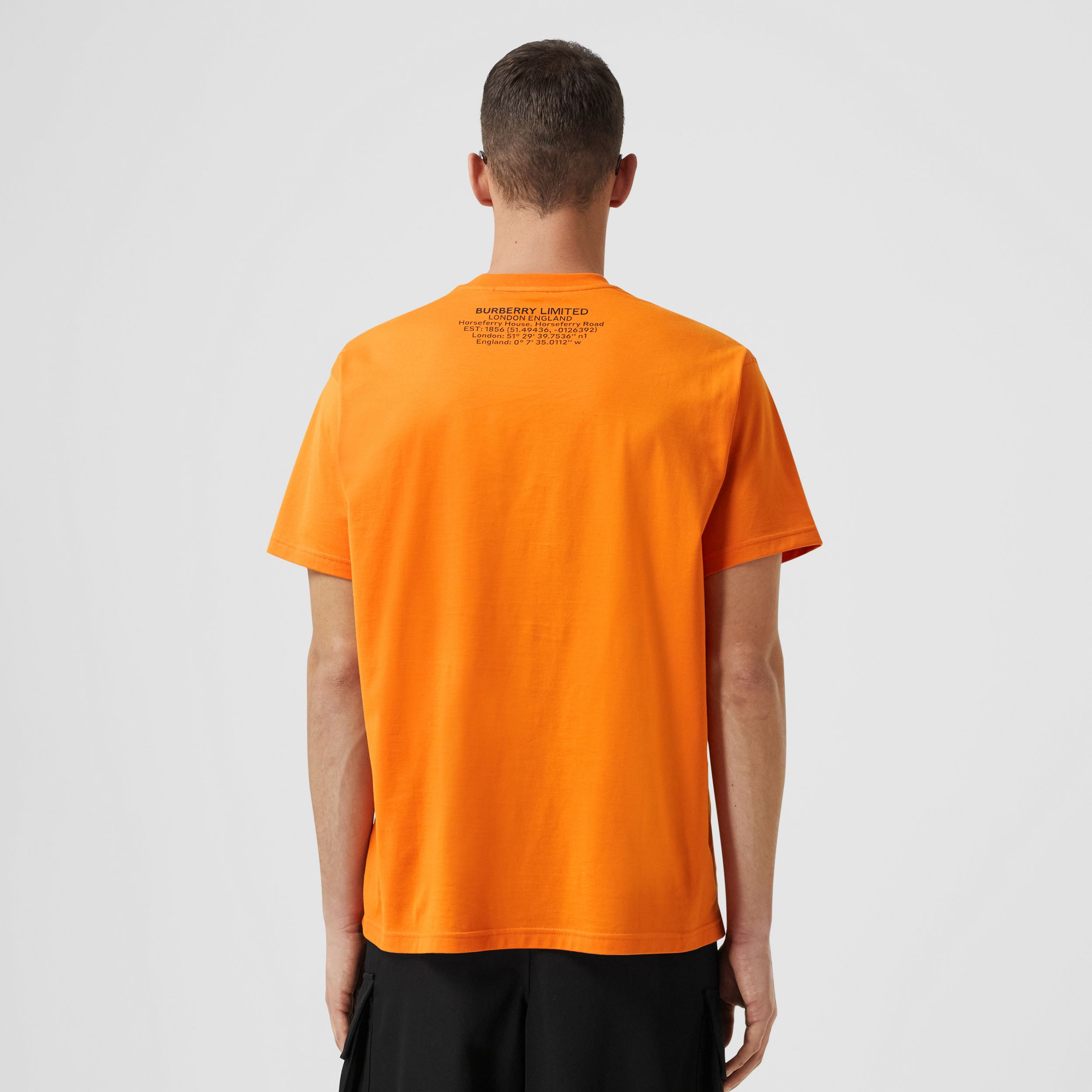 Shark Graphic Cotton Oversized T-shirt in Deep Orange - Men | Burberry United States - 3