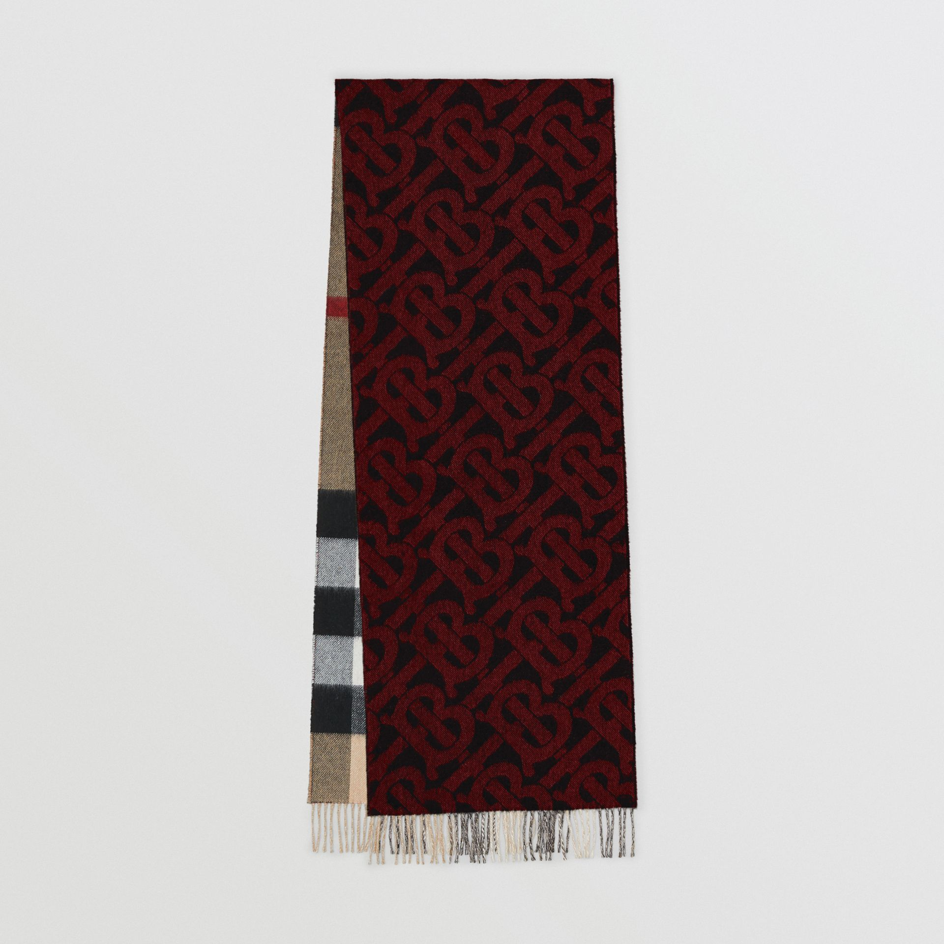 Reversible Check and Monogram Cashmere Scarf in Bright Red | Burberry - gallery image 0