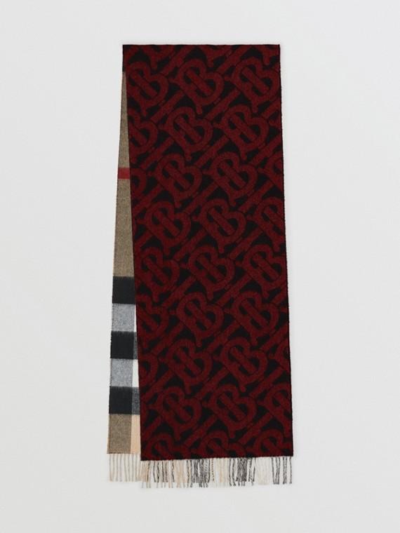 リバーシブル チェック&モノグラム カシミアスカーフ (ブライトレッド)