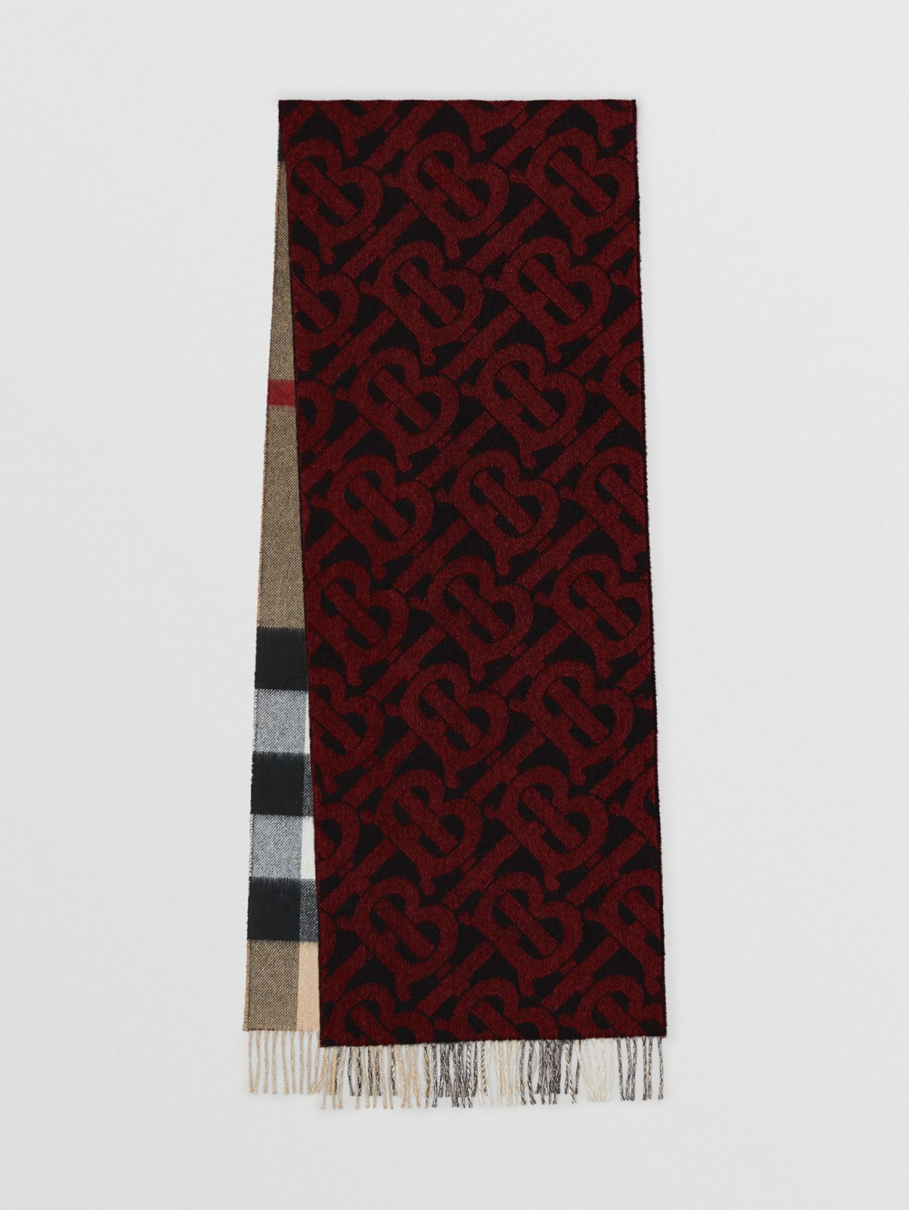 Reversible Check and Monogram Cashmere Scarf in Bright Red