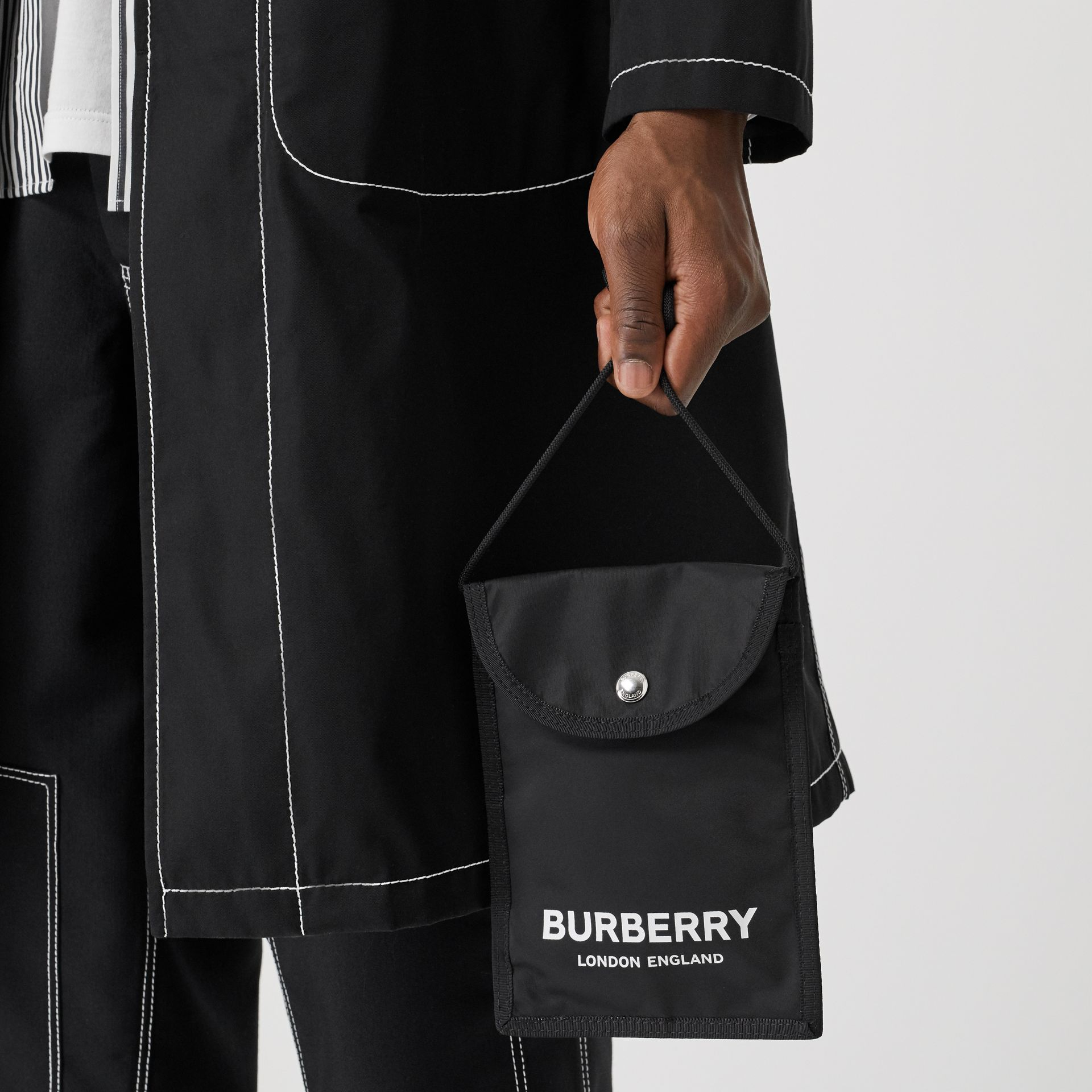 Logo Print Nylon Phone Case Lanyard in Black/white - Men | Burberry - gallery image 2