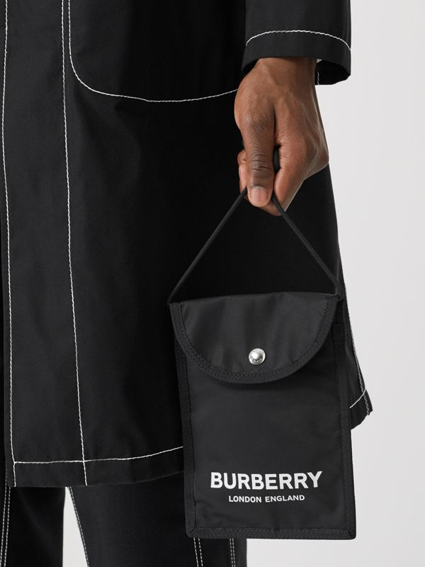 Logo Print Nylon Phone Case Lanyard in Black/white - Men | Burberry - cell image 2