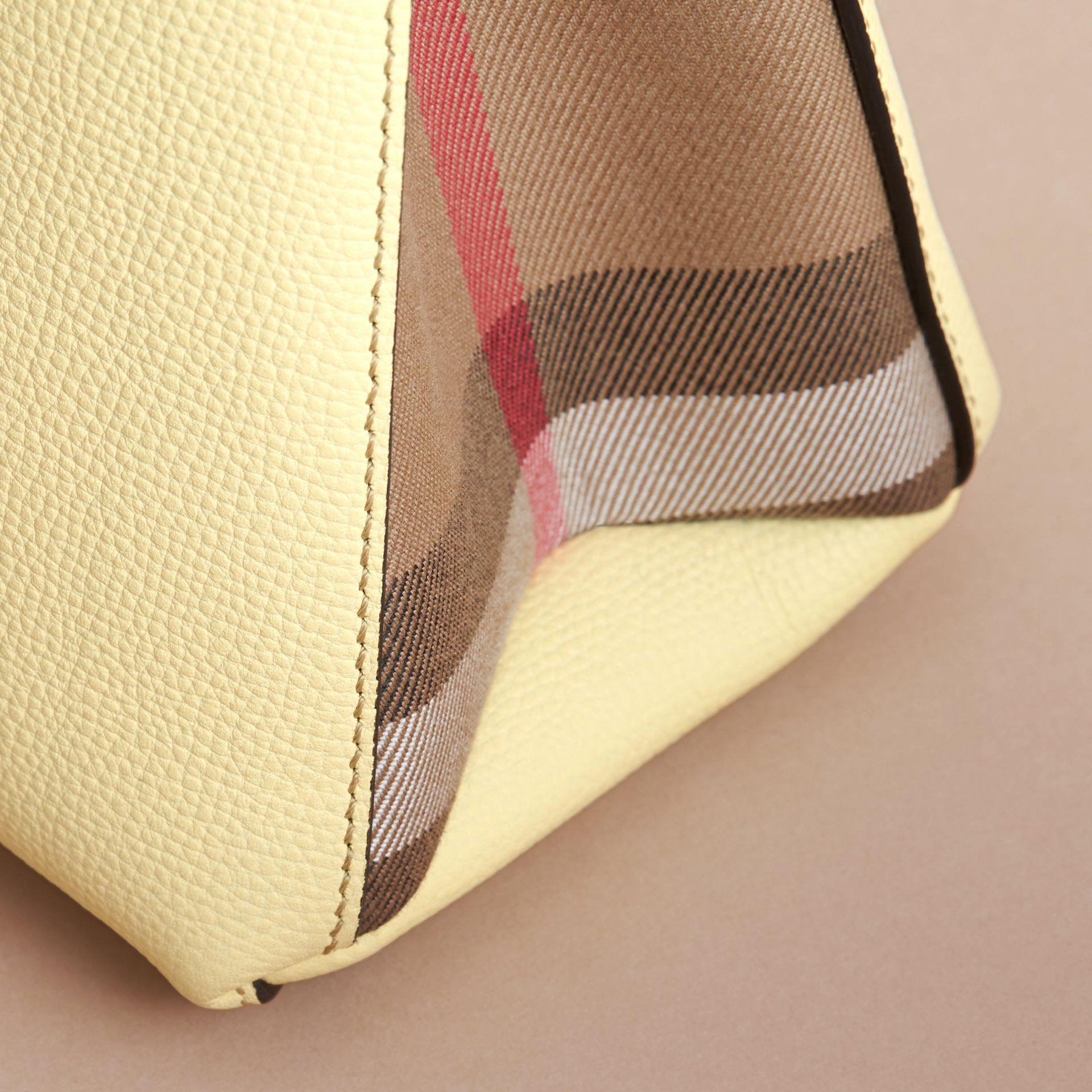 The Baby Banner in Leather and House Check in Camomile Yellow - Women | Burberry - gallery image 2