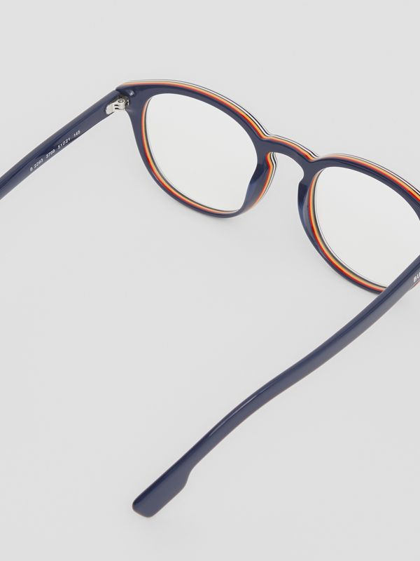 Icon Stripe Detail Round Optical Frames in Blue - Men | Burberry - cell image 3