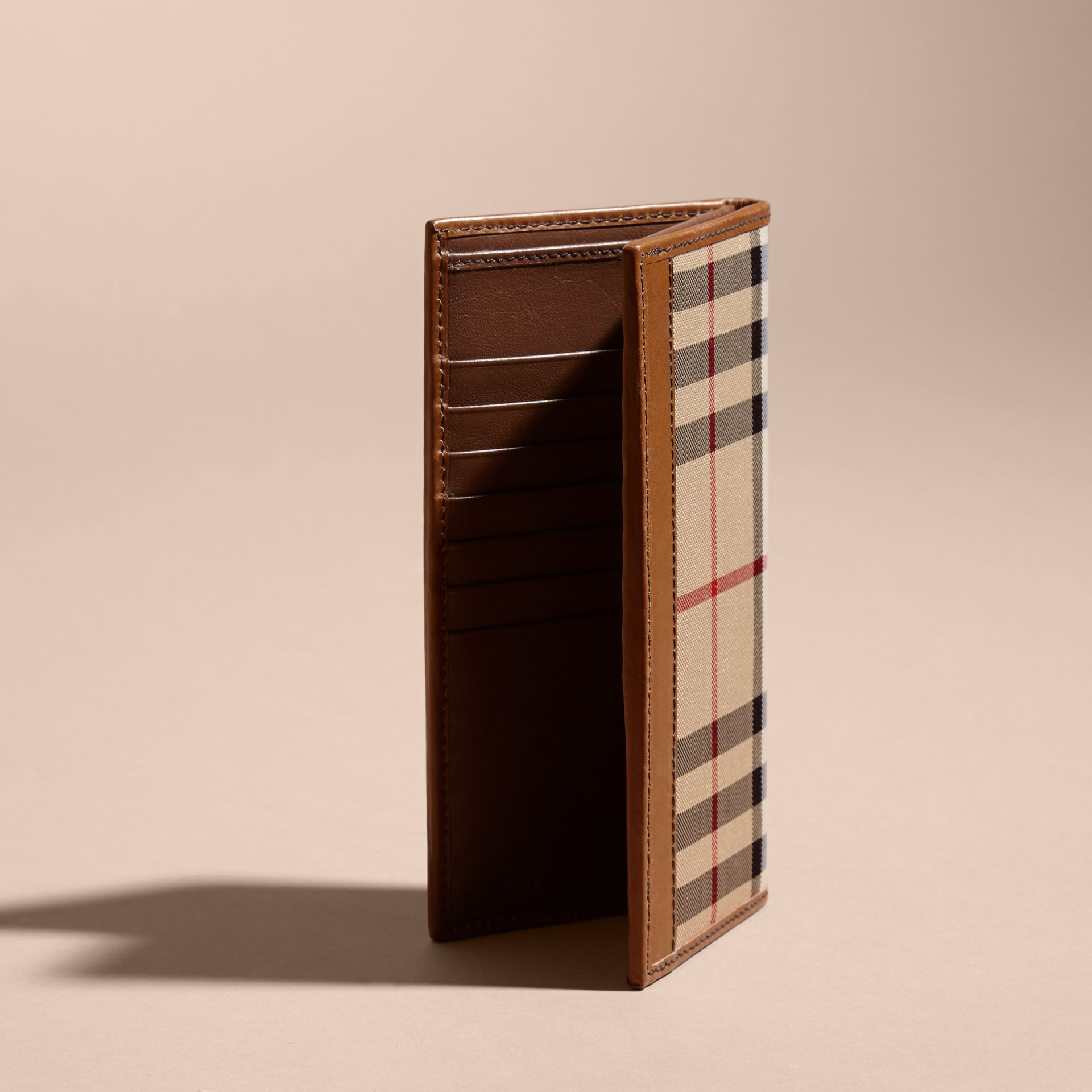 Small Horseferry Check Currency Wallet in Tan - Men | Burberry - gallery image 4