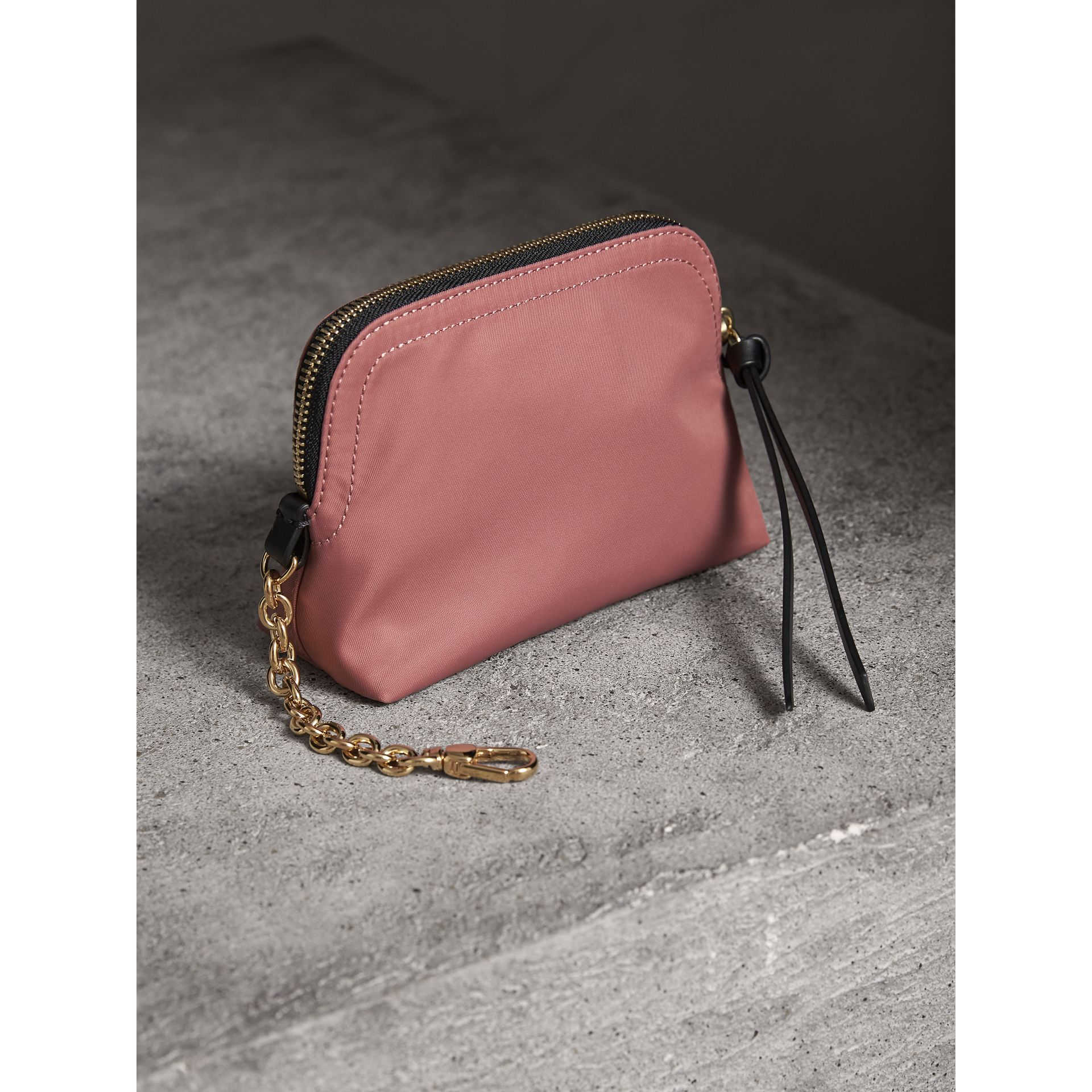 Small Zip-top Technical Nylon Pouch in Mauve Pink - Women | Burberry United Kingdom - gallery image 3