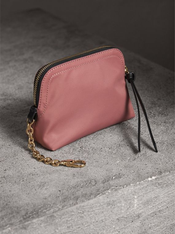 Small Zip-top Technical Nylon Pouch in Mauve Pink - Women | Burberry United Kingdom - cell image 2