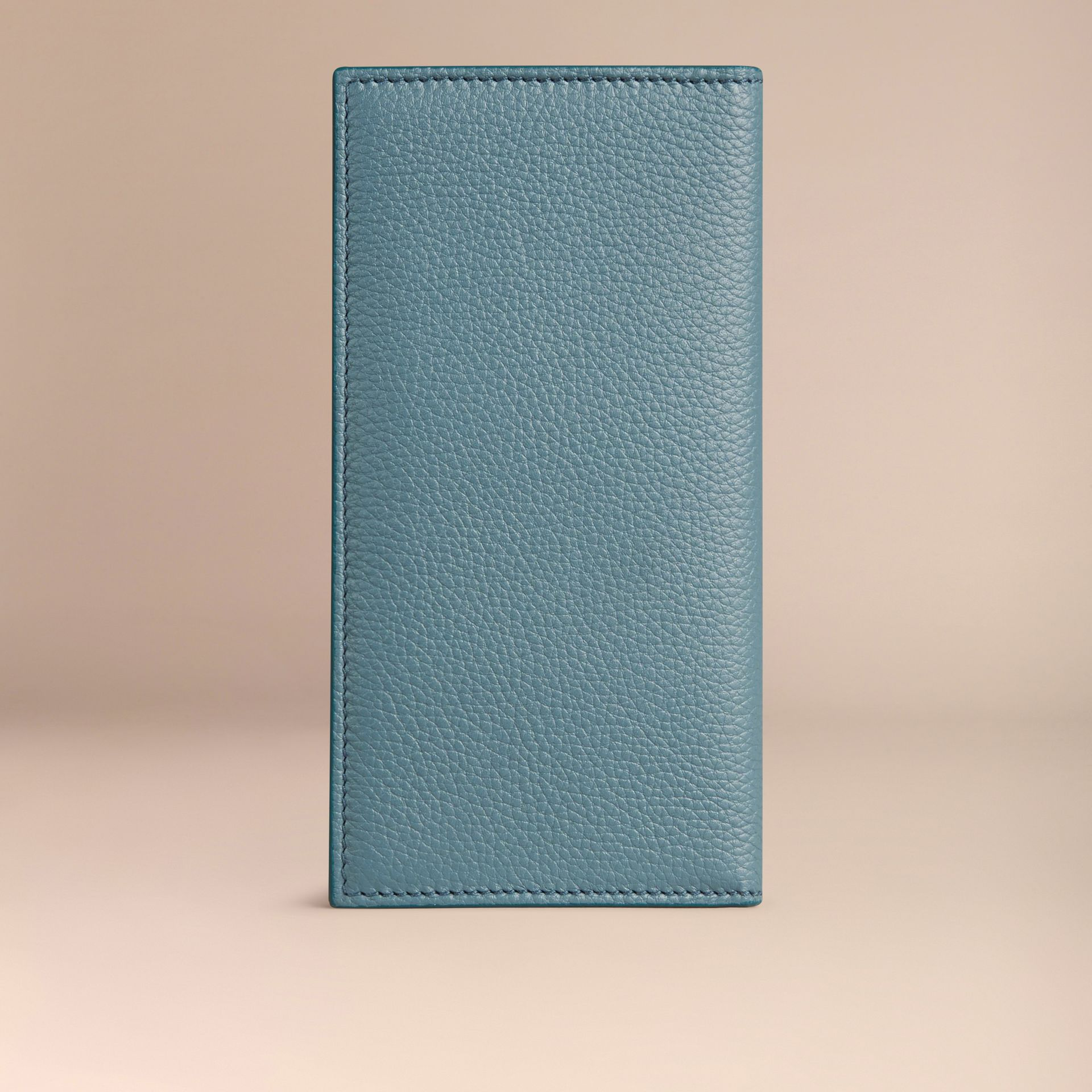 Grainy Leather Travel Card Case in Dusty Teal - gallery image 3