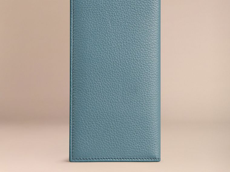 Grainy Leather Travel Card Case in Dusty Teal - cell image 2