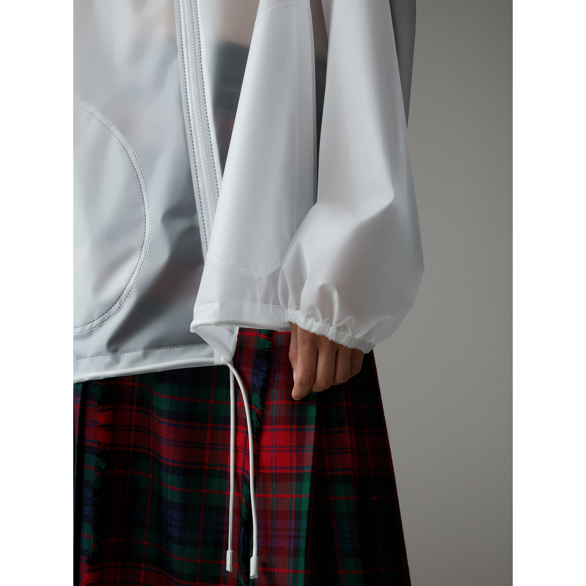 Soft-touch Plastic Cagoule in White - Women | Burberry - gallery image 1