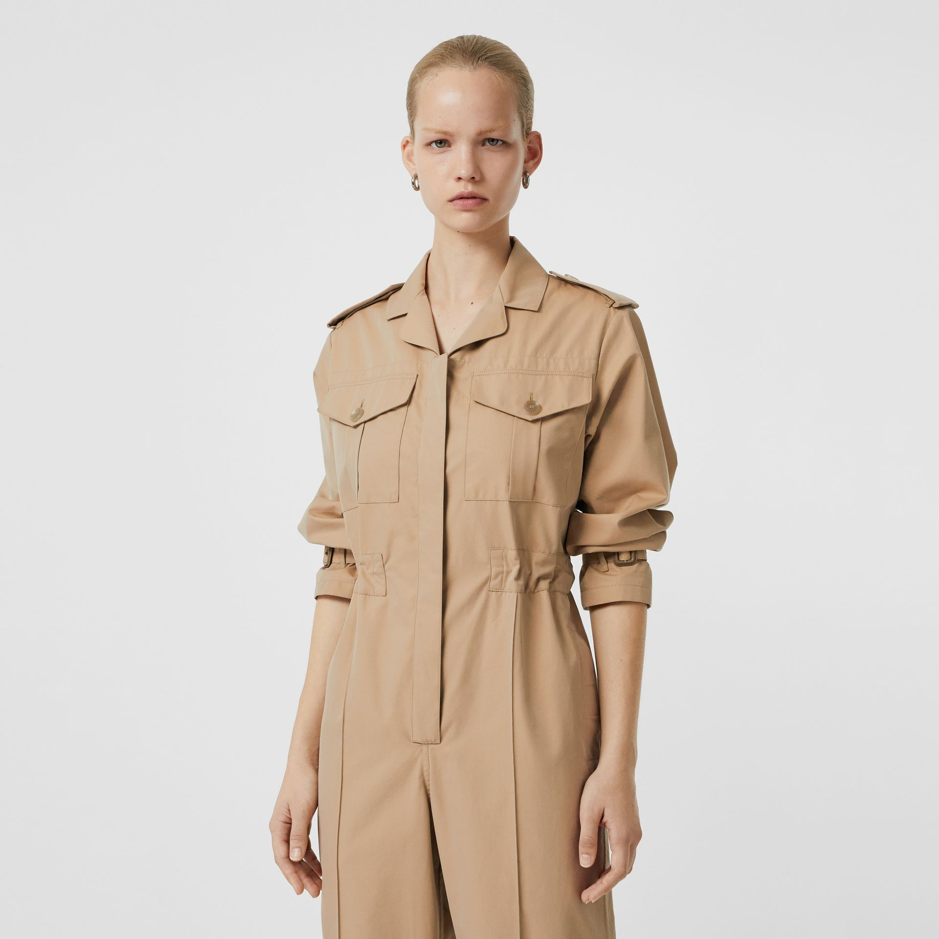 Cotton Gabardine Jumpsuit in Honey - Women | Burberry Hong Kong - gallery image 1